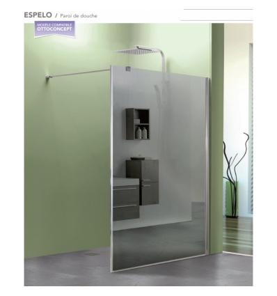 Paroi de douche coulissante accès d'angle + paroi fixe latérale 100x80x200cm avec verre transparent 8mm EPONA