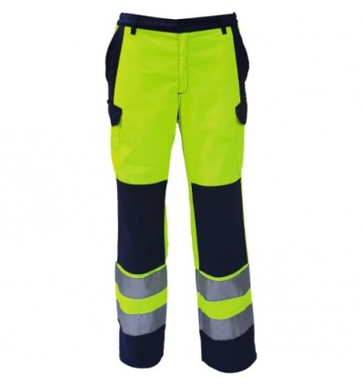 Pantalon HV jaune fluo/bleu nuit 48