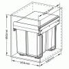 Poubelle Practi Eco pour caisson de 400 mm, bac de 2x20l avec coulisses Soft close, fixation sur le fond