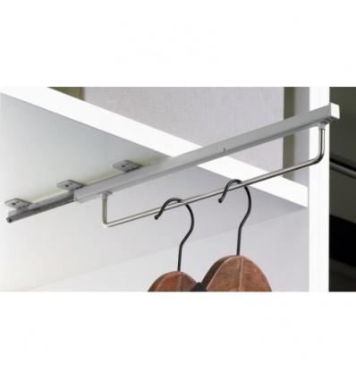 Porte-cintres coulissant Quadro - longueur 400 mm - finition argent