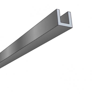 Profils U aluminium, 10x10x10x2 mm, satiné argent, longueur 3 m