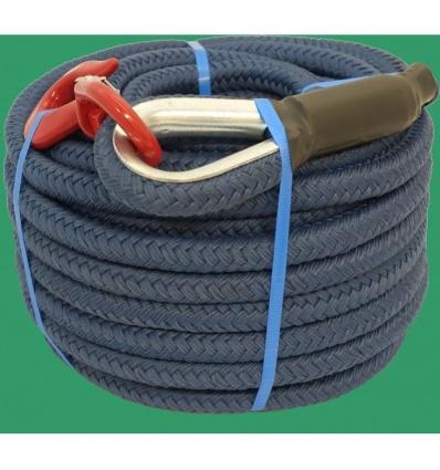 Corde à poulie en polypropylène texturé, D 22mm, souple et légère, imputrescible, avec crochet à émerillon longueur 25m