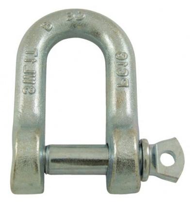 Manilles droites à piton à oeil acier estampé zingué blanc diamètre axe 14 mm en boîte de 5