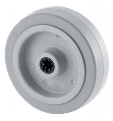 Roue polyamide type UFR coloris gris diamètre 125 mm, alésage 15 mm