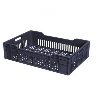 Caisse ajourée gerbable grise, capacité 25 litres, dimensions 600 x 400 x 135 mm