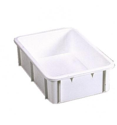 Bac gerbable plastique blanc, capacité 35 litres, dimensions 600 x 400 x 217 mm