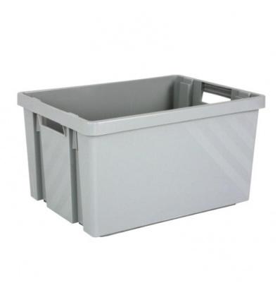 Bac gerbable et emboîtable en polypropylène Novabac, coloris gris acier, 54 litres, carton de 10 bacs