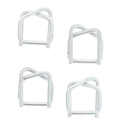 Boucles acier galva pour feuillard textile, largeur 16 mm, boîte de 1000 pièces