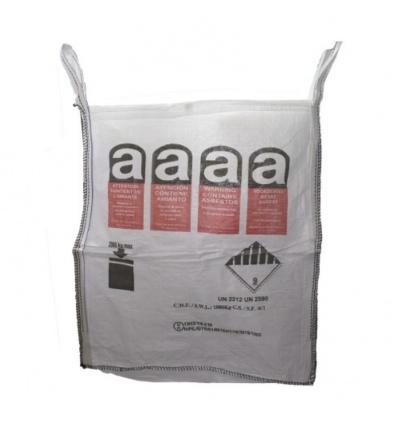Sac à gravats BIG BAG pour déchets amiantés A01E 90x90x105cm polypropylène et sache PE interne cousue capacité 1000kg