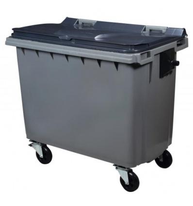 Conteneur 4 roues gris/gris 660 litres vidage par prise latérale avec tourillons