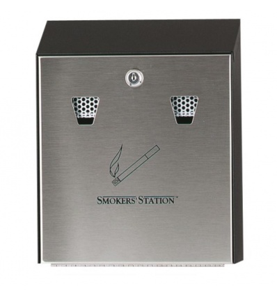 Cendrier muraux Smokers Station acier inoxydable