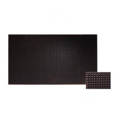 Caillebotis caoutchouc noir pour passage chariots handicapés, dimensions 91 x 152 cm, épaisseur 22 mm, alvéoles de 19 mm