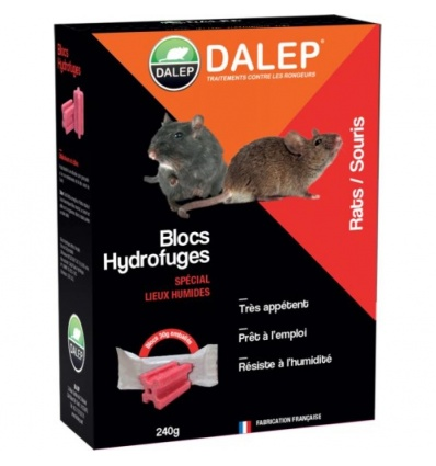 Blocs hydrofuges raticides souricides DALEP®, boîte de 8 sachets de 30g