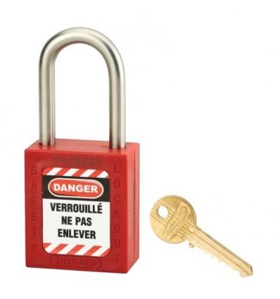 CADENAS CONSIGNATION 40 ANSE INOX H38MM JAUNE + jeu étiquette