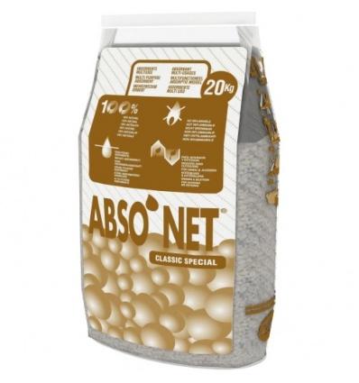 Absorbant ABSO'NET à base de sépiolite, absorbe l'eau, les hydrocarbures, les solvants et les encres, sac de 20kg
