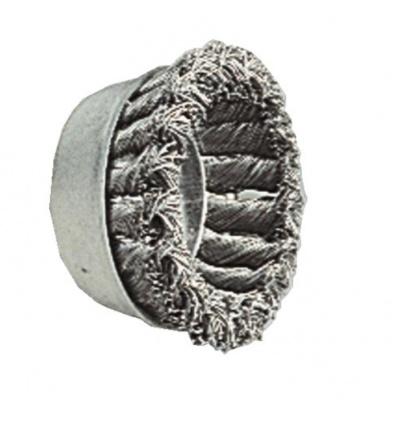 Brosse conique acier torsadé diamètre 75 mm diamètre fil 0,5 mm pour meuleuses axe M14