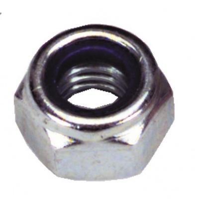 Écrous de sécurité hexagonaux autofreinés polyamide acier zingué blanc, diamètre 20 boîte de 25 pièces