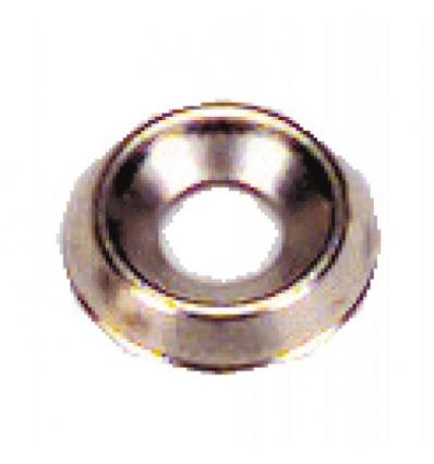 Rondelles cuvettes embouties laiton nickelé, diamètre 6 mm, sachet de 200 pièces