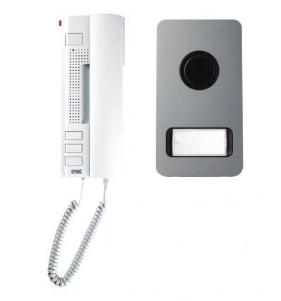 Kit portier audio MIKRA alu 2 fils à combiné interphone URMET 1122/31