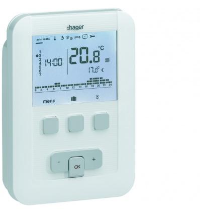 Thermostat d'ambiance programmable digital chauffage à eau chaude 4 fils sur 7j 230V HAGER EK530
