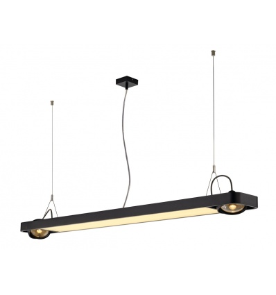 AIXLIGHT R2 OFFICE LED, susp, noir, LED + 2xES111, max. 75W, 153cm