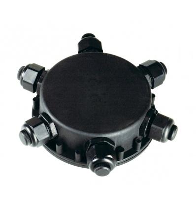 Boîte de connexion ronde, 6 sorties, IP55, diamètre de câble 14 mm