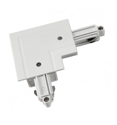 Connecteur 90° pour rail 1 allumage 230V, à encastrer, blanc, terre ex