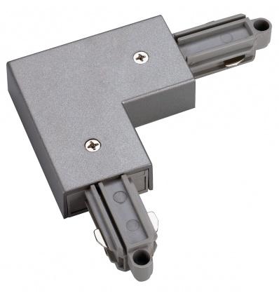 Connecteur 90° pour rail 1 allumage 230V, gris argent, terre extérieur