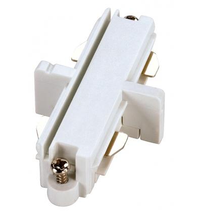 Connecteur droit pour rail 1 allumage 230V, blanc, électrique