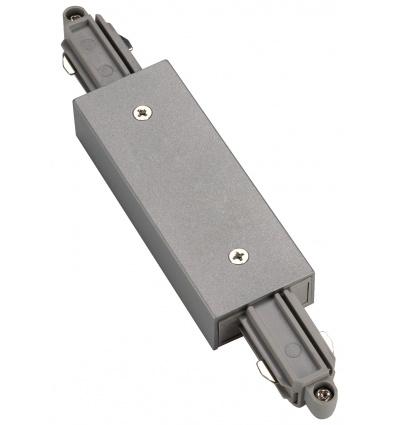 Connecteur droit pour rail 1 allumage 230V, gris argent, avec alimenta