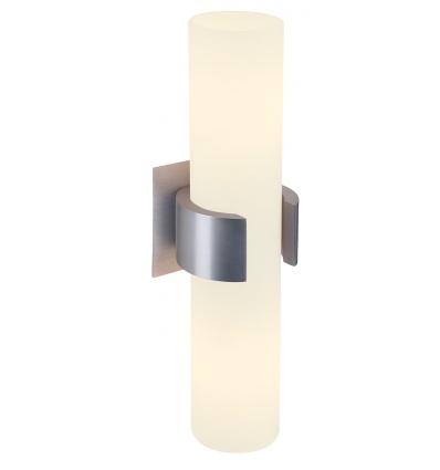 DENA 2, applique, alu brossé, verre partiellement satiné, 2x E14, max.