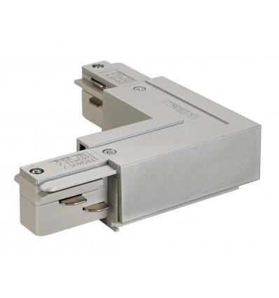 EUTRAC connecteur 90°, terre intérieure, gris argent